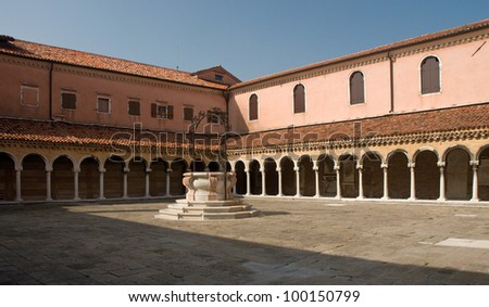 Cloister of San Michele church in Venice, Italy