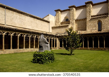 Cloister of the convent of St. Francis of Assis, Sang�¼esa, Navarra, Spain