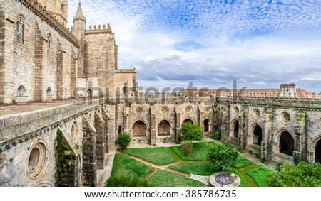 Cloister of the Evora Cathedral, the largest cathedral in Portugal. Romanesque and Gothic architecture. UNESCO World Heritage Site. - stock photo