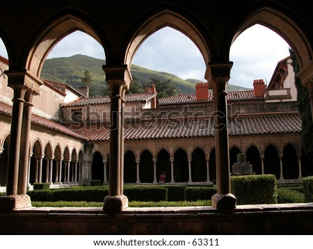Cloister of the 12th century convent of Arles-sur-Tech in southern France near the Pyrenees - stock photo