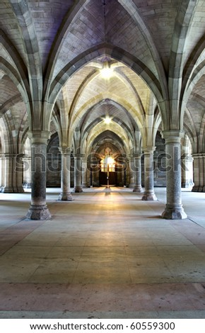 Cloisters of mediaeval religious building - stock photo