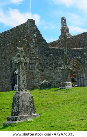 CLONMACNOISE - AUGUST 15 : Cathedral on 15 August 2016 at Clonmacnoise, Ireland. Clonmacnoise is a medieval ruin complex of religious edifices.