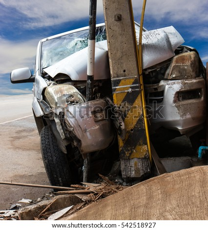 Close Accident Front Car Collided Power Stock Photo (Download Now ...