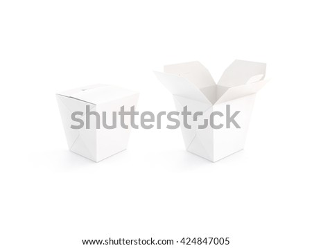 Close and open blank wok box mockup stand isolated, 3d rendering. Empty clear noodle carton box mock up. Asian take away food paper bag template. Chinese meal container packaging. Rice, udon, pasta - stock photo