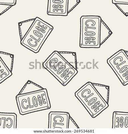 close banner doodle seamless pattern background