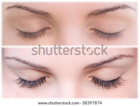 Close Beautiful eyes with natural eyelashes to and false eyelashes after - stock photo