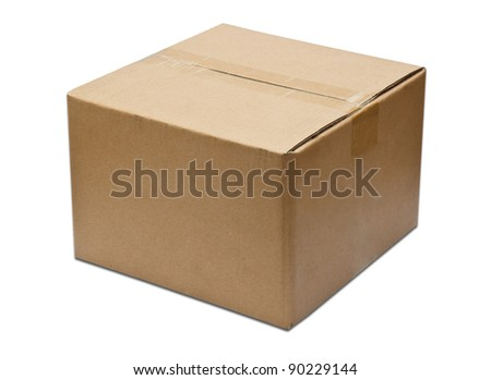 Close brown paper box on white - stock photo