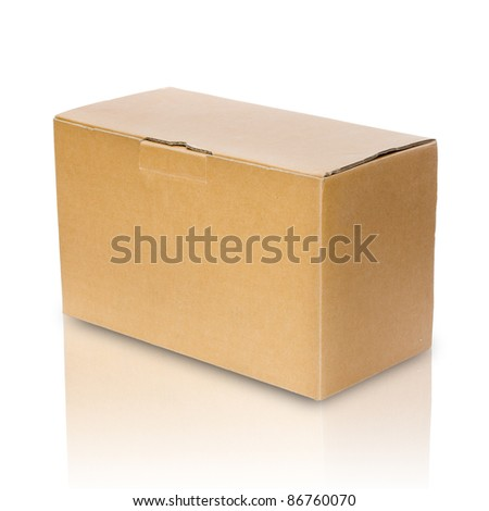 Close brown paper box on white with reflect