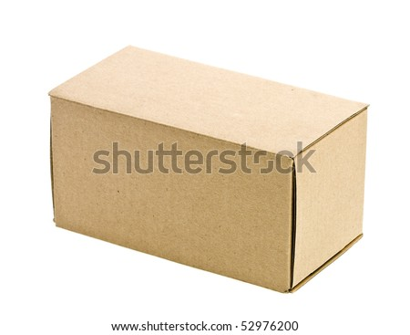 close cardboard box isolated on white - stock photo