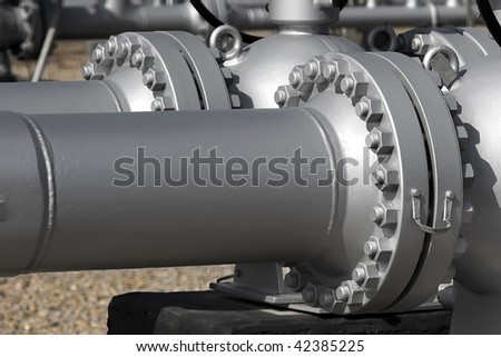 Close detail of pipe flanges from an LPG station.