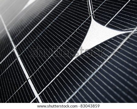 Close detail of solar panel collecting a sunlight - stock photo