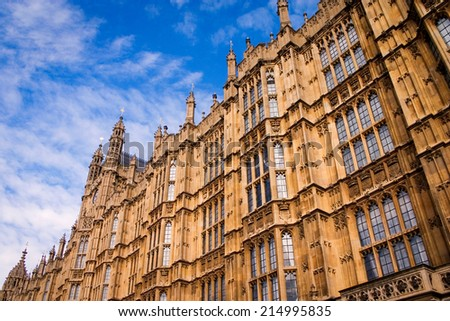 Close, detail of the walls of the UK seat of government, The Houses of Parliament, a classic example of gothic architecture. - stock photo