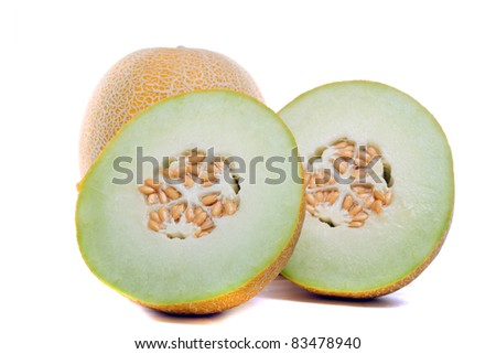 Close detail view of some sliced Cantaloupe melons isolated on a white background. - stock photo