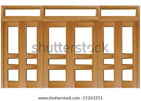 Close doors isolated on white (clipping path). 3D rendered Illustration. - stock photo