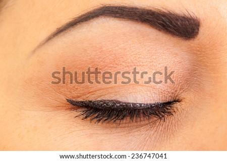 close female eye with make-up, closeup - stock photo
