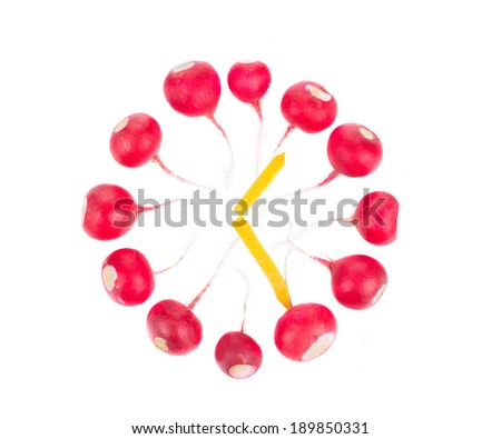Close from radish. Isolated on a white background. - stock photo