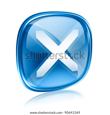 close icon blue glass, isolated on white background. - stock photo