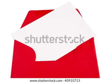 Close image of a blank sheet with blank space for text writing in a red envelope, isolated against a white background - stock photo