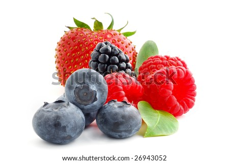 Close image of berries studio isolated on white background - stock photo