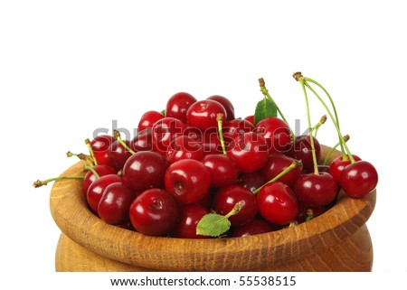 Close image of cherry isolated on white background