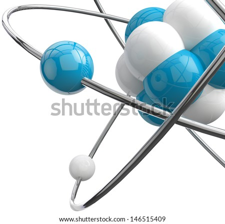 close image of molecule isolated over white - stock photo