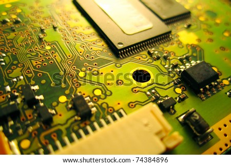 Close-in shot of computer circuit board - stock photo