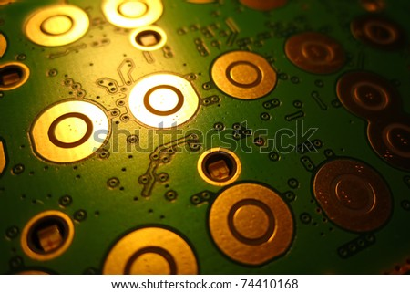Close-in shot of electronic circuit board - stock photo