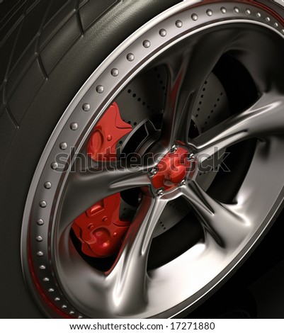 Close of chromed wheel with red details. Exclusive design, good to use without reference of mark. - stock photo