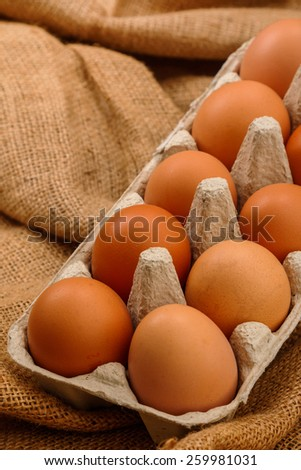 Close of package with eggs - stock photo