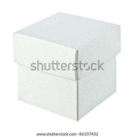 Close paper box on white background - stock photo