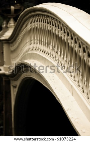 Close photo of the Bow Bridge in Central Park, NY - stock photo