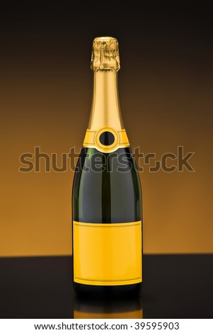Close picture of a bottle of champagne