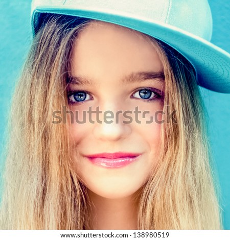 Close portrait of a beautiful teen girl - stock photo
