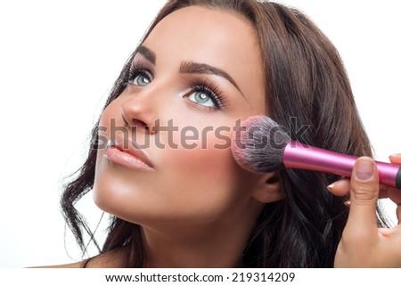 Close portrait of a beautiful woman  - stock photo