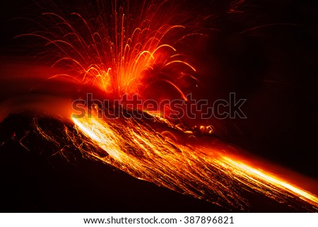 Close Range Powerful Volcanic Eruption