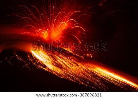 Close Range Powerful Volcanic Eruption  - stock photo