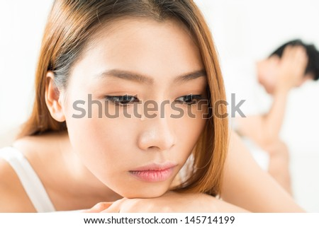 Close-shot of a girlfriend's face with a tear on it after quarrel  - stock photo