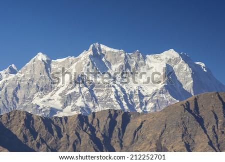 "Close shot of Mountain ""Chaukhambha"" In Himalaya - stock photo"