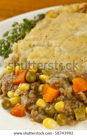 Close shot of shepherds pie made with organic ingredients - stock photo