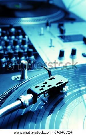 Close shot of top class vinyl equipment for a hip-hop scratch dj - stock photo