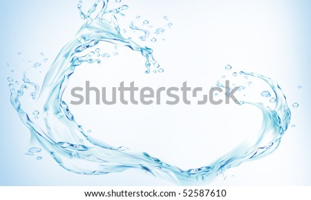 Close shot of water splashing - stock photo