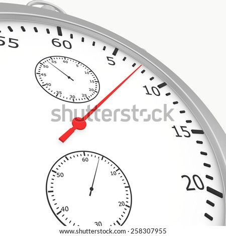 Close stopwatch isolated on white background. 3d render