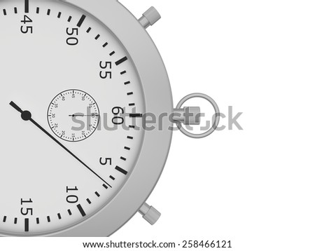 Close stopwatch isolated on white background. 3d render - stock photo
