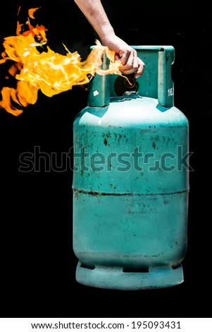 close the switch on gas balloon on fire burning in safety no dangerous - stock photo