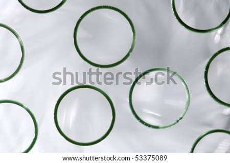 Close the top front of a group of laboratory test tubes - stock photo