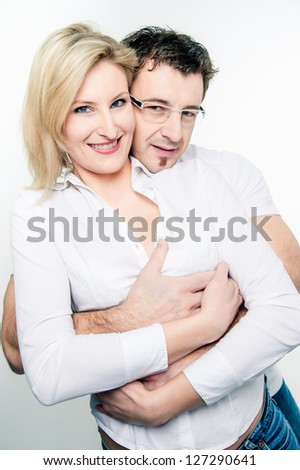 Close to a loving Couple taken in a Studio - stock photo