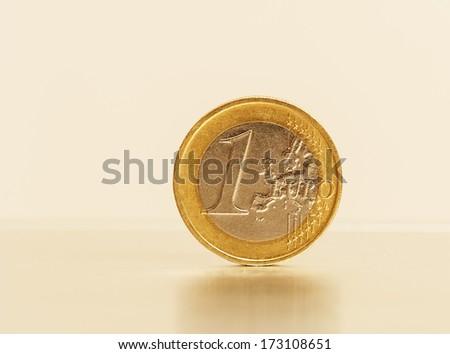 Close to one European coin - stock photo