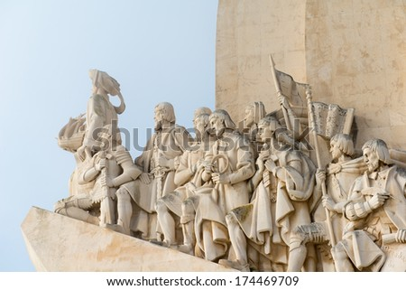 "Close to the sailor and explorer memorial ""Padrao dos Descobrimentos"" ; of Lisbon in Portugal - stock photo"