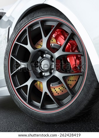 Close tuned car wheel with red-hot brakes after the race on the track. - stock photo