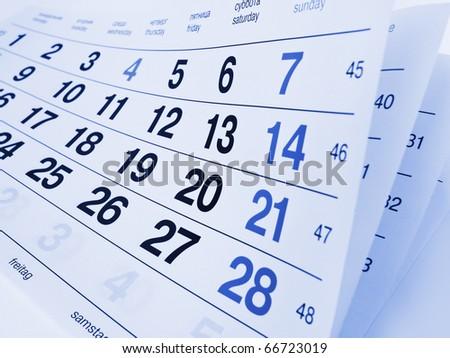 Close up a blue toned calendar page - stock photo